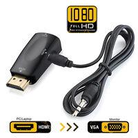 Gold HDMI To VGA Female 1080P HD+ Audio TV AV HDTV Video Cable Converter Adapter