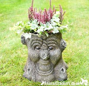 Happy Face Tree Stump Planter heavy duty fibreglass garden decoration ornament