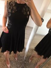 🌸 Ted Baker Size 1 Uk8  Dress Flare Skater Circle Mini Lace Black Sexy Prom