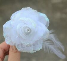 BE white Feather rose flower clip brooches Hairpin Wedding Party dancing
