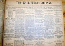 Orignal 1930 Wall Street Journal newspaper STOCK MARKET CRASH & GREAT DEPRESSION