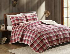 RED PLAID Full / Queen QUILT SET : COUNTRY LODGE CABIN WOOLRICH TASHA COVERLET