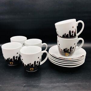 Porcelain Espresso Coffee 6 Cup 5 Saucer Set Urban Coffee Design White Brown