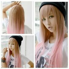 New Fashion Women Harajuku Pink Brown Mixed Straight 70cm Cosplay Costume Wig