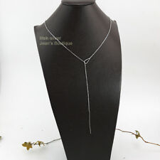 925 Sterling Silver Teardrop Dainty Bar Long Chain Lariat Y Necklace A2486