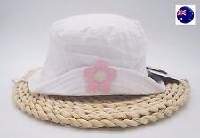 Baby Girl Kid White Cotton Flower Bucket Sun Hat Cap with Tie Up 15-24Months