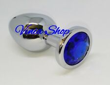 Plug Metal Butt Stainless Steel Crystal Blue Azul Anal Talla L Large Size