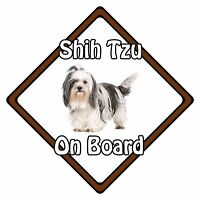 Non Personalised Dog On Board Car Safety Sign - Shih Tzu On Board