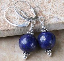 Beautiful 12mm Blue Lapis Lazuli 925 Silver Leverbacks Earrings