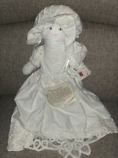 Pillowcase Prairie Doll White Handmade and Signed by Char 1993 Vintage Primitive