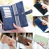 Fashion Leather Wallet Button Purse Long Women's Handbag Clutch Bag Card