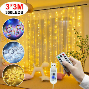 300 LED Curtain Fairy String Lights Indoor Outdoor Backdrop Wedding Xmas Party