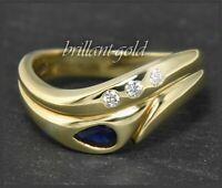 Diamant Brillant & Saphir Ring, 0,35ct Damen 585 Gold Bandring, 14K Gelbgold