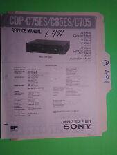 Sony cdp-c75es c85es c705 service manual original repair book stereo cd player