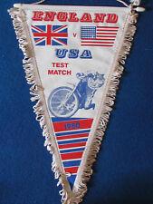 Vintage Speedway Pennant - England v USA -  International Test Match - 1980