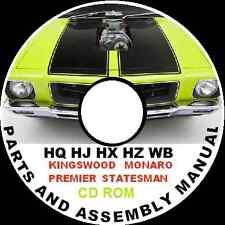 HOLDEN HQ HJ HX HZ WB MONARO STATESMAN  PARTS RESTORATION ASSEMBLY BIBLE CDROM