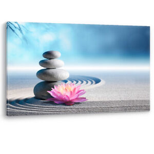 Spa Sand Lily Spa Stones Zen Beauty Decor Framed Canvas Wall Art Picture Print
