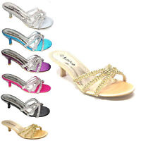 LADIES WOMEN'S DIAMANTE BRIDAL PARTY MULES EVENING SANDALS LOW HEEL UK SIZE F318