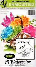 New ART IMPRESSIONS RUBBER STAMP Cling MINI watercolor set 4 spring basket
