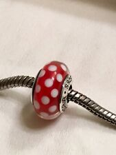 Pandora Classic Minnie Mouse Red Polka dots Murano Glass Bead Charm Ale 925