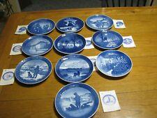 Ten Royal Copenhagen Denmark Christmas Collectors Plates