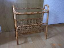 Zeitungsständer, Beistelltisch aus Bambus mit Glasplatte, 50 - 60er Jahre