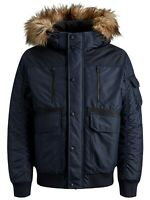 JACK & JONES Faux Fur Bomber Parka Jacket Mens Warm Hooded Padded Winter Navy