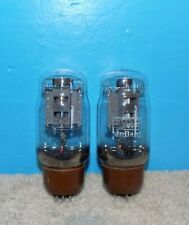 2 Matched Mullard KT-66 Tubes Dual Bottom Halo Getters Strong & Sweet!