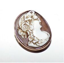 VICTORIAN CAMEO BROOCH ROSE GOLD MOUNTED LACE PIN CLASSICAL SHELL CAMEO DAINTY