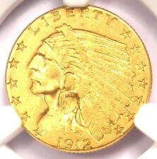 1912 Indian Gold Quarter Eagle $2.50 Coin - Certified NGC AU55 - Rare Coin!