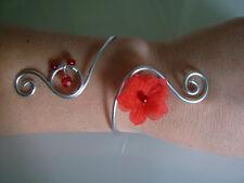 """Bracelet """"Argent""""/Argenté/Rouge Aluminium original robe de Mariée/Mariage/Soirée"""