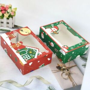 Set of 12 Christmas Candy Cookie Box Cupcake Muffin Cake Box Bakery Gift Boxe&