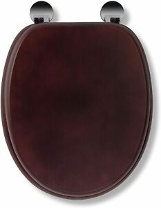 Anti Bacterial Toilet Seat - Always Fits Never Slips - Mahogany Effect Finish