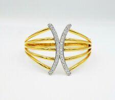 Round Cut Cubic Zirconia 18K 24K Jewelry Bangle Women Yellow Real Gold Plated