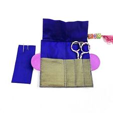 """Gingher Italy Scissors 4"""" Purple Floral Handle with Lantern Moon Magnetic Pouch"""