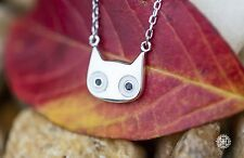 Very Cute Big Eyes Cat Pendant Necklace 925 Sterling Silver Kitty Necklace