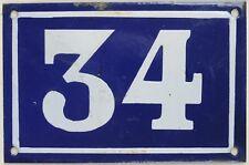 Old blue French house number 34 door gate plate plaque enamel steel sign c1950