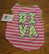 "Sz S Hot Pink & White Stripe ""DIVA"" T-Shirt  Puppy/Dog nwt"