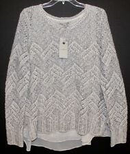 Lucky Brand Womens Off-White Silver Gray Layered Sweater NWT $79 Size XL