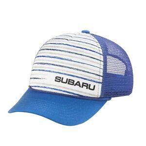 Genuine Subaru Logo Youth Stripe Mesh Back Cap Hat STi Wrx Forester Ascent