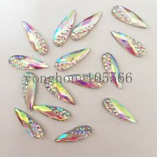 60pcs white AB Resin teardrop FlatBack Rhinestone Scrapbooks DIY wedding buttons
