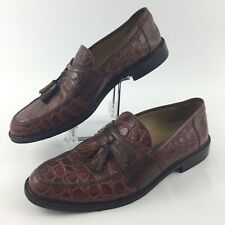 Johnston & Murphy Men Size 8 M Croc Embossed Leather Tassel Loafers Brown Italy