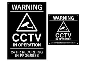 WARNING CCTV In Operation Black & White Sign (Large & Medium Sizes) +drill holes