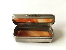 """Antique Plated Silver Agate Small Hinged Pill Snuff Trinket Box 2""""x7/8""""x3/4"""""""