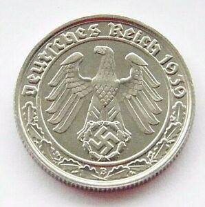 GERMAN 50 REICHSPFENNIG 1939 B SWASTIKA Nickel 3rd REICH WW2 +RARE+ Coin Pfennig