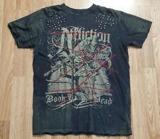 Affliction Men's Black Distresed Skull Angel Short Sleeve T Shirt Sz Large Book
