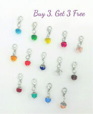 Buy 3 Get 3 Free! Clip on dangle charms - lobster clasp for jewelry, birthstone
