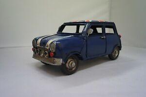 Vintage Mini Minor blue car with Union Jack collectable memorabilia home decor