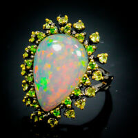 Top 12ct Recommend AAA+  Natural Opal 925 Sterling Silver Ring Size 9/R70677