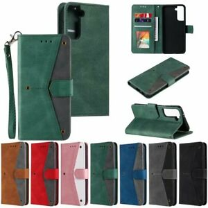 For Samsung S20 FE S9 S30 A21S A42 A71 A51 S8 Contrast Leather Wallet Phone Case